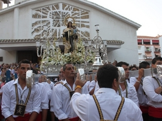 Torre del Mar Virgen del Carmen sea and street procession